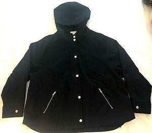 Charter Club Hooded Jacket Zip Pockets Navy Sz Petite XL NWOT