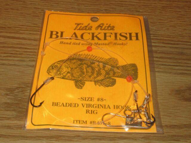 4 BLACKFISH TAUTOG FISHING RIGS TIDE RITE R451-3 BEADED VIRGINIA 2 HOOK RIG