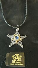 ALCHEMY ENGLAND Gothic Pewter Medieval Pentacle Pentagram Star Pendant with bag