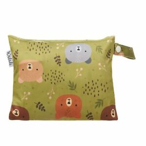 Small-Waterproof-Wet-Bag-with-Zip-19-x-16cm-Green-Forest-Bear-Design