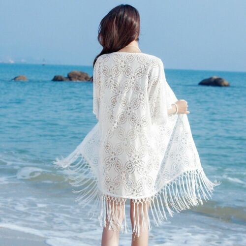 Damen Spitze gehäkelt lange Strickjacke Sommer Strand Locker Sonnenschutz