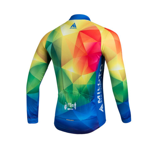 Men/'s Long Sleeve Cycling Jersey Reflective Bike Cycle Long Shirt Colourful
