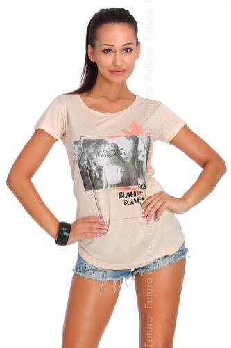 Casual T-Shirt No Image Print Short Sleeve Crew Neck Tunic Top Sizes 8-12 FB107