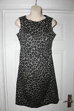 Ladies Grey & Black Animal Print Dress Size 10 F&F Wiggle