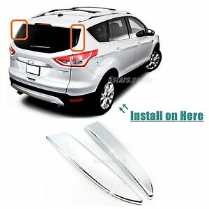 Accessories Chrome Rear Window Side Covers Trims For 2013-2018 Ford ...