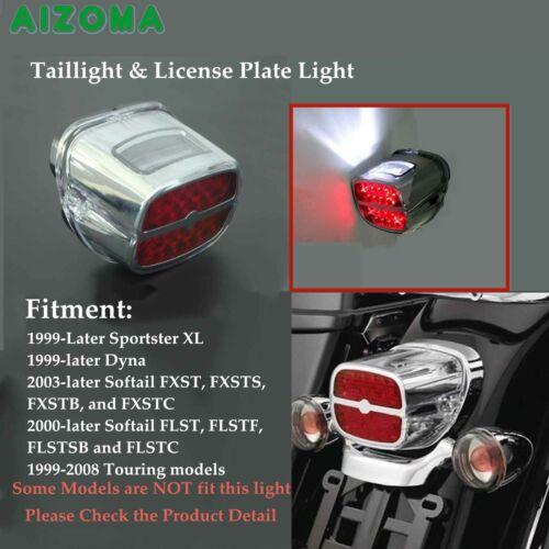 Chrome LED Taillight License Plate Light For Harley Softail FLST FXST Dyna 99-up