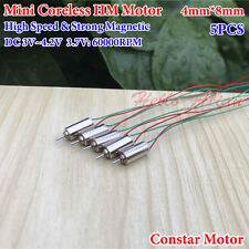 5PCS 4mm*8mm DC 3.7V 60000RPM High Speed Micro Mini Coreless Motor Toy RC Drone