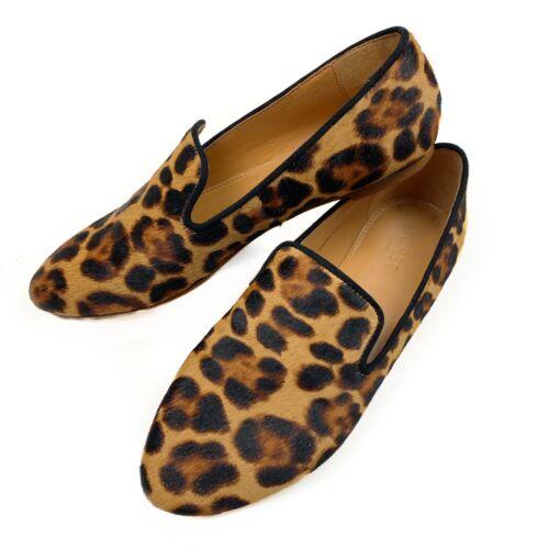 J. Crew Calf Hair Leopard Print Smoking Loafers 6