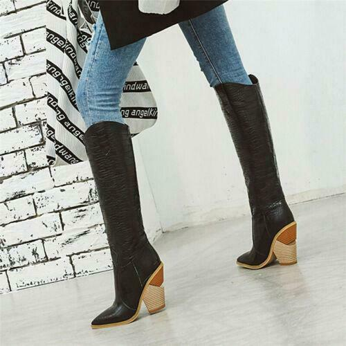 Women Western Pointed Toe Cowboy Cowgirl Strange High Heel Knee High Boots Shoes