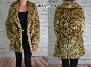 Cappotto leopardo Nuovo pelliccia sintetica 12 £ stampa in 75 Successivo 10 Tagged Uk 8 con 8PTw8gq