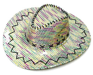 ab5554d17 RAINBOW SEQUIN COWBOY HAT sequined cowgirl party caps western rodeo ...