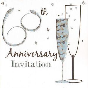 36 x 60th anniversary invitation cards diamond wedding party invites