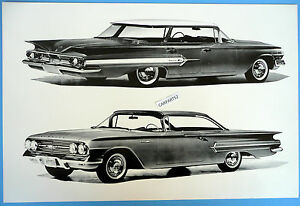 12-By-18-034-Black-amp-White-Picture-1960-Chevrolet-Bel-Air-4-Door-Hardtop-2-Views