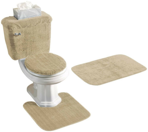 5 PIECE BATH RUG CONTOUR TANK LID and TANK COVER SET LID