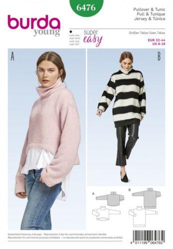 Burda Damas fácil parte superior suéter con cuello 6476 patrón de costura.. Gratis Reino Unido P/&p