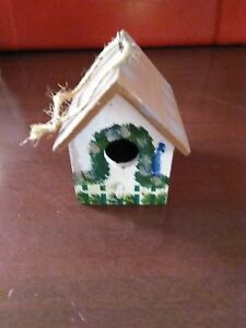 Details About Wooden Wood Bird House Decorative Inside Table Top Piece Hand Painted Birdhouse