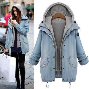 Winter Women Warm Collar Hooded Long Coat Jacket Denim Trench Parka Outwear