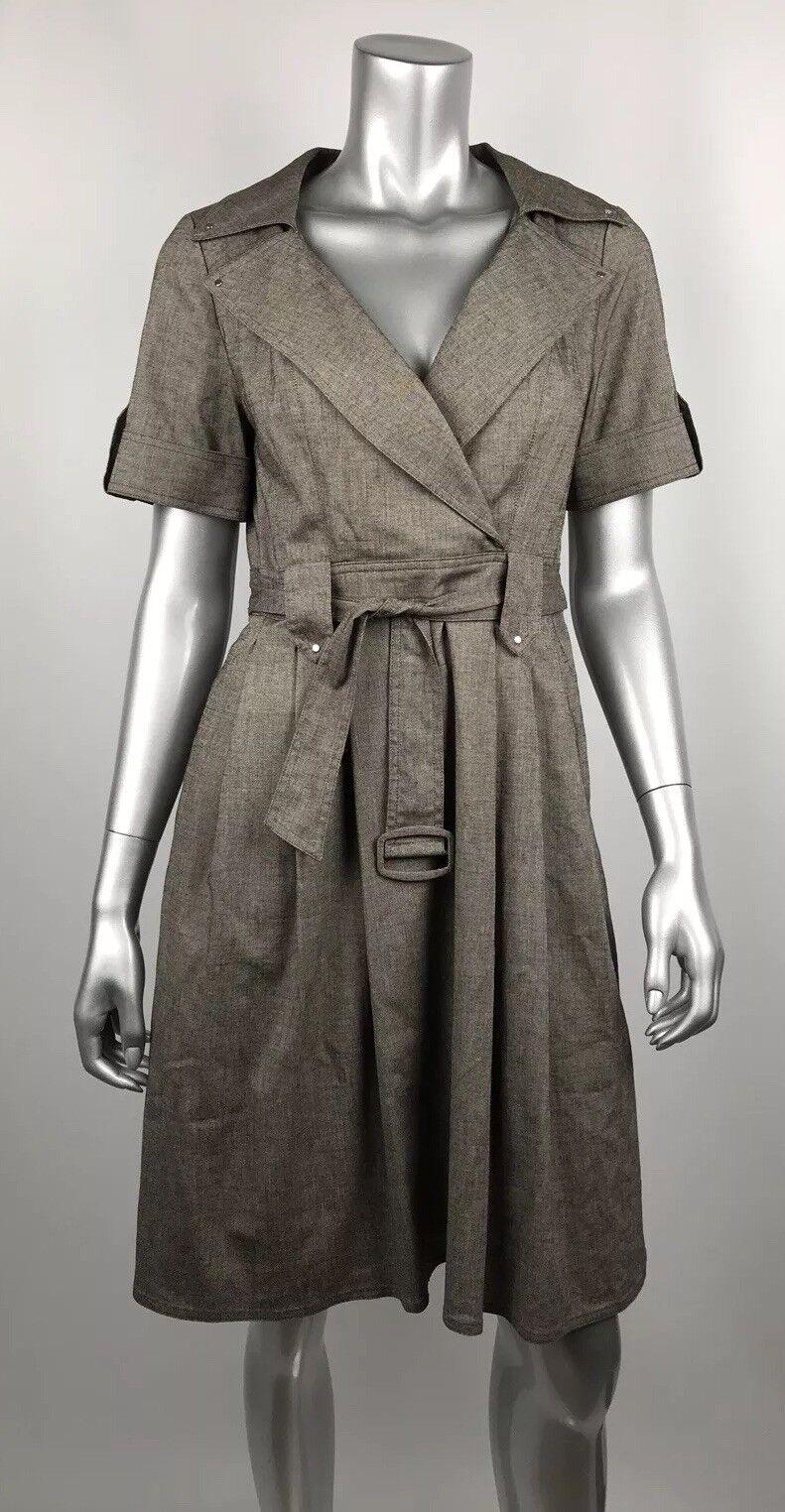 Kay Unger Trench Dress 6 Taupe braun Pleated Skirt Belt V-neck Career