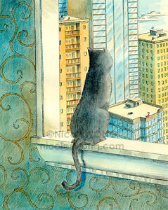 8x10-archival-PRINT-Looking-Over-the-City-cat-pet-animal-city-landscape