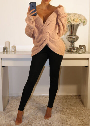 V Neck Knitted Knot Twist Wrap Front Cross Back Long Sleeve Jumper Sweater Top