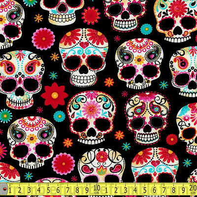 Timeless Treasures Fabric Floral Sugar Skulls Metre PER METRE Mexican Fiesta Sug