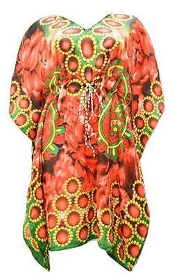 Frugal Übergröße Paisley Rose Strand Bedecken Fledermausärmel Arm Mit Kurzer Kaftan Rot 100% Guarantee Clothing, Shoes & Accessories Women's Clothing