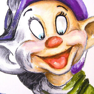 DOPEY-mixed-media-WDCC-drawing-that-silly-grin-bedazzling-Snow-White-Dwarfs-art