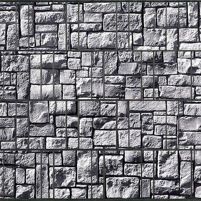 Steinlabyrinth • Sichtschutz Doppelstabmatten Zaun Windschutz Steinmotiv