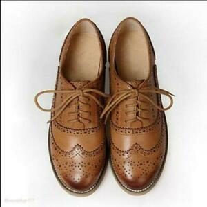 Women-039-s-Real-Leather-Flat-Oxfords-Brogues-Wingtip-Lace-Up-Shoes-Casual-Shoes-New