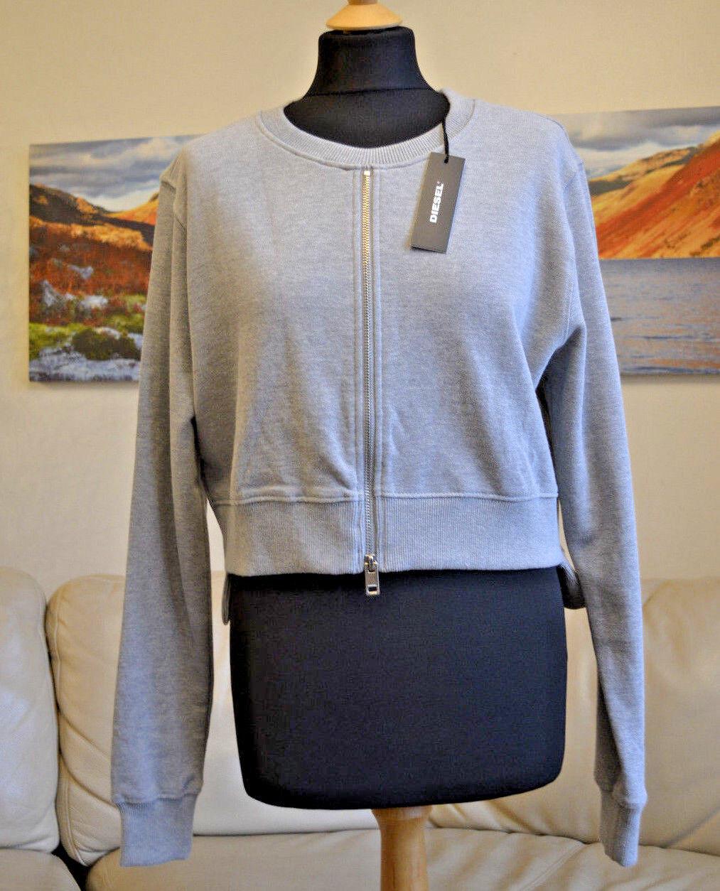 DIESEL Womens Top Jumper Sweater Crop Oversized Light Grey Cotton Sz XS