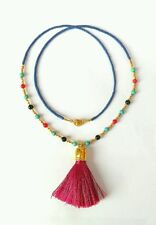 Afghan Natural Lapis Lazuli, Mixed Stone, Fabric Tassel Tiny Seed Beads Necklace