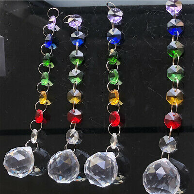 5Pc Glass Crystal Maple Garland Chandelier Prism Pendant Hanging Suncatcher DIY