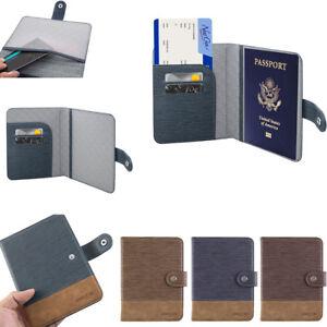 Leather-Passport-Holder-RFID-Blocking-ID-Case-Credit-Card-Wallet-Men-Women-039-s