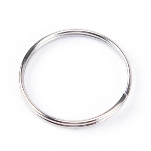 40x Steel Keyring Split Key Rings Nickel Hoop Ring Nickel Plated Steel Loop HC