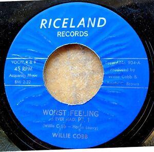 BLUES-HARMONICA-45-WILLIE-COBB-Cobbs-WORST-FEELING-I-EVER-HAD-Riceland