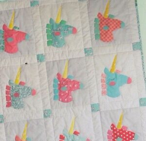 Details about Baby Unicorn - cute applique & pieced baby quilt PATTERN -  Cabbage Rose