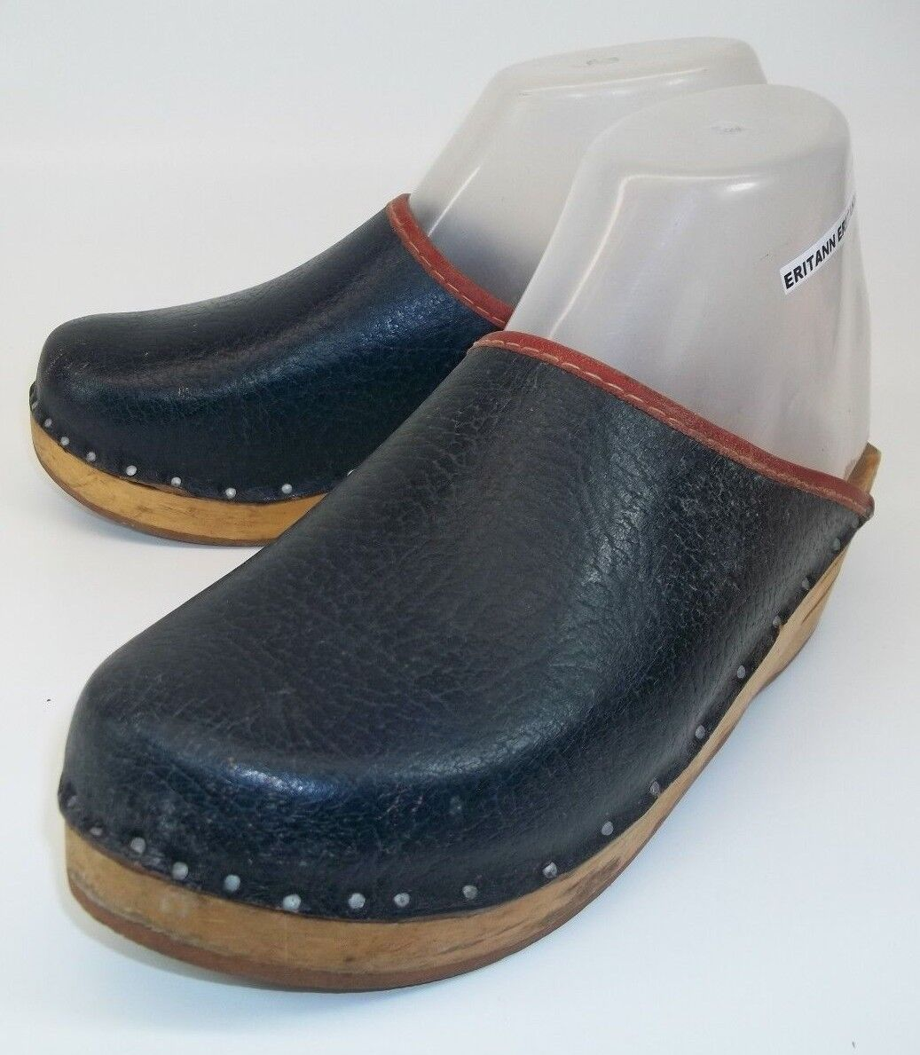 Klinik Wos Shoes Clog Mule EU36 Blue Leather Wood Heel Wedge Slip-on nailed 13