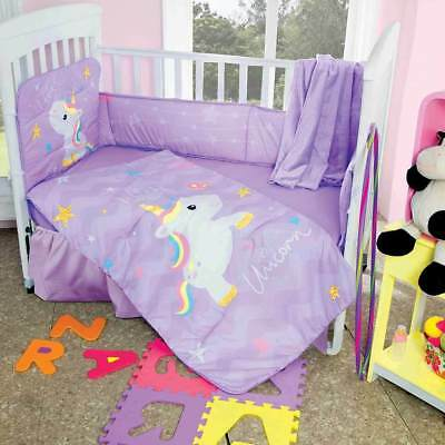 New Baby Girls I Love Unicorn Purple Nursery Crib Bedding Set 5 Pcs FREE  Blanket | EBay