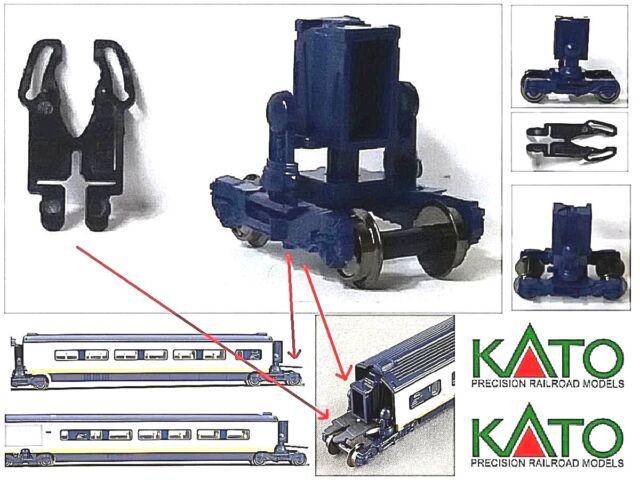 KATO N.1 CHARIOT SOUFFLET+CROCHET BOGIE SOUFFLETS+HOOK pour EUROSTAR SNCF