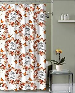 red and tan shower curtain. Image is loading Red Orange Tan Fabric Shower Curtain Bless This  Home Floral Wreath