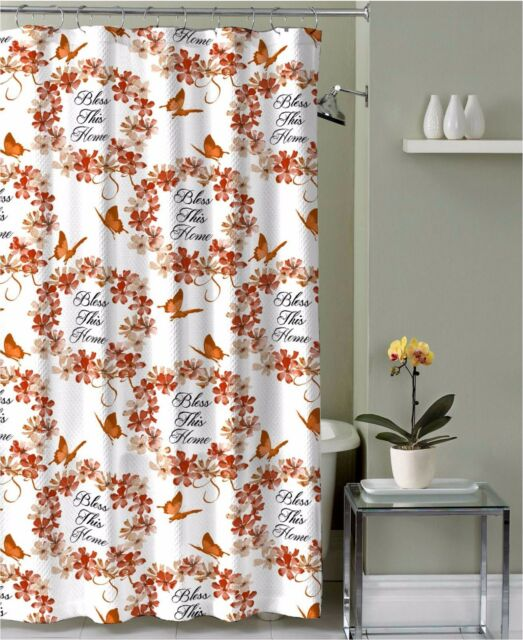 Red Orange Tan Fabric Shower Curtain Bless This Home Floral Wreath Butterfly