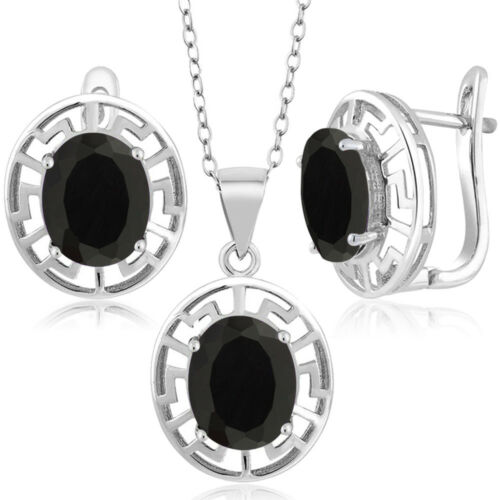 7.50 Ct Oval Black Onyx 925 Sterling Silver Pendant Earrings Set With Chain
