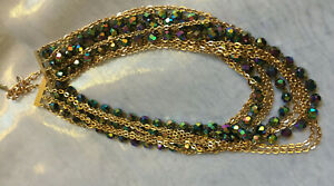 VINTAGE Chunky Strand Blue Carnival Glass Aurora Borealis Gold Link Necklace #3