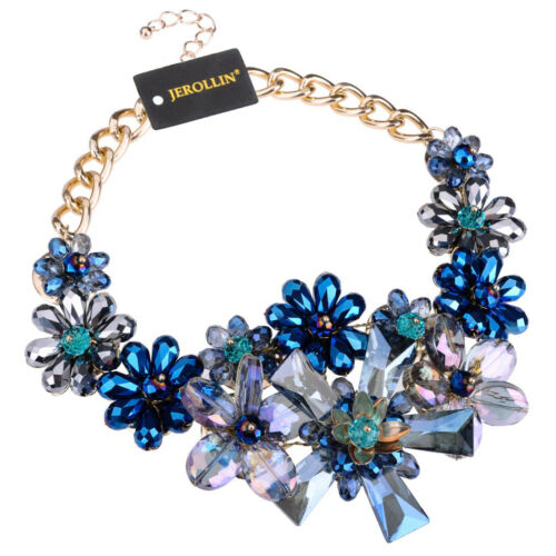 New Fashion Gold Chain Multi-Color Crystal Flower Statement Pendant Bib Necklace