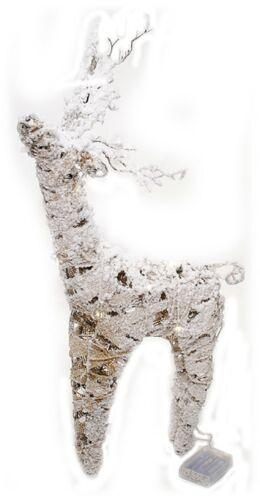 Snow Flocked LED Lighted Burlap Twig Deer Reindeer Holiday Christmas Decor NEW