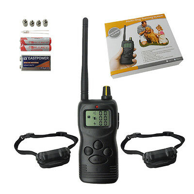 2 Dogs 1000m ELECTRIC PET Wireless REMOTE TRAINER  TRAINING SHOCK COLLAR (LCD)