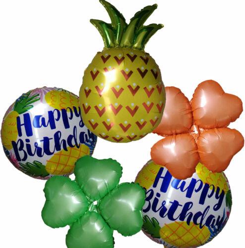 5 Hawaiian Tropical Summer Beach Pineapple Happy Birthday Balloon Party Supplies