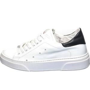 Sneakers bassa uomo invernale in vera pelle bianco fortino nero fondo cruelty bi