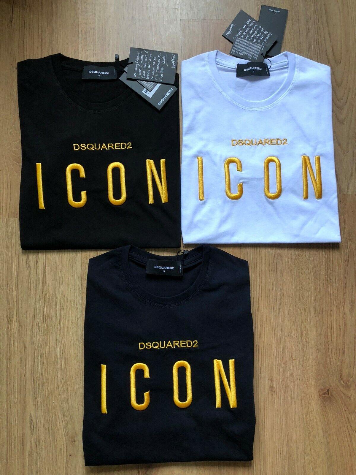 DSQUARED 2 Uomini Icona T-Shirt Maniche Corte 100% COTONE RICAMATO LOGO (icona)