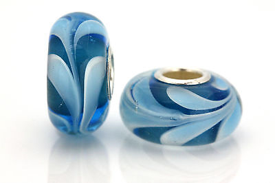 Blue Swirl MURANO GLASS BEAD Sterling Silver Single Core 925 for Charm Bracelet
